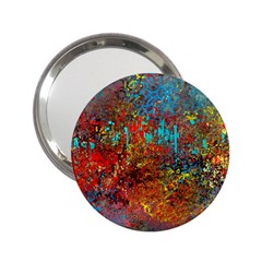 Abstract in Red, Turquoise, and Yellow 2.25  Handbag Mirrors