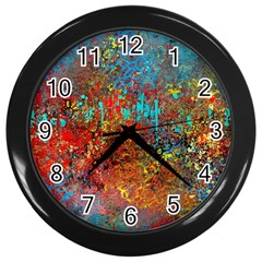 Abstract In Red, Turquoise, And Yellow Wall Clocks (black)