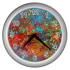 Abstract In Red, Turquoise, And Yellow Wall Clocks (silver)
