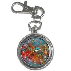 Abstract in Red, Turquoise, and Yellow Key Chain Watches