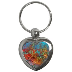 Abstract in Red, Turquoise, and Yellow Key Chains (Heart)