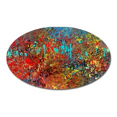 Abstract in Red, Turquoise, and Yellow Oval Magnet
