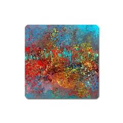 Abstract in Red, Turquoise, and Yellow Square Magnet