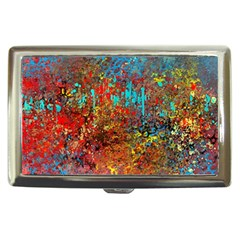 Abstract in Red, Turquoise, and Yellow Cigarette Money Cases