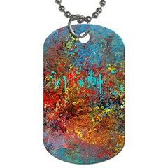 Abstract in Red, Turquoise, and Yellow Dog Tag (Two Sides)