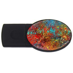 Abstract in Red, Turquoise, and Yellow USB Flash Drive Oval (1 GB)