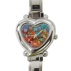 Abstract In Red, Turquoise, And Yellow Heart Italian Charm Watch