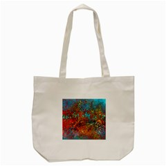 Abstract In Red, Turquoise, And Yellow Tote Bag (cream)