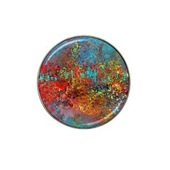 Abstract In Red, Turquoise, And Yellow Hat Clip Ball Marker