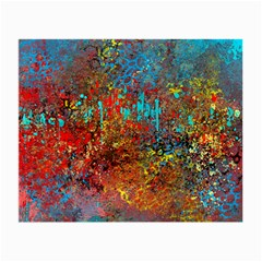 Abstract in Red, Turquoise, and Yellow Small Glasses Cloth