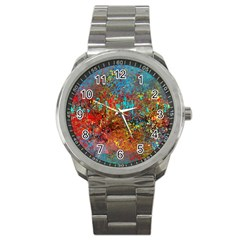 Abstract in Red, Turquoise, and Yellow Sport Metal Watches