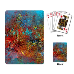 Abstract in Red, Turquoise, and Yellow Playing Card