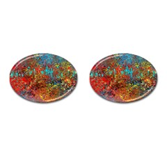 Abstract in Red, Turquoise, and Yellow Cufflinks (Oval)