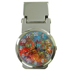 Abstract in Red, Turquoise, and Yellow Money Clip Watches