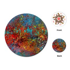 Abstract in Red, Turquoise, and Yellow Playing Cards (Round)