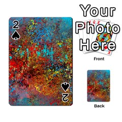 Abstract in Red, Turquoise, and Yellow Playing Cards 54 Designs