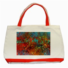Abstract in Red, Turquoise, and Yellow Classic Tote Bag (Red)
