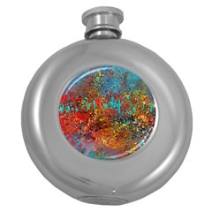 Abstract in Red, Turquoise, and Yellow Round Hip Flask (5 oz)