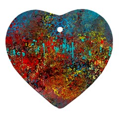 Abstract In Red, Turquoise, And Yellow Heart Ornament (2 Sides)