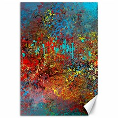 Abstract in Red, Turquoise, and Yellow Canvas 12  x 18