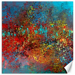 Abstract in Red, Turquoise, and Yellow Canvas 20  x 20