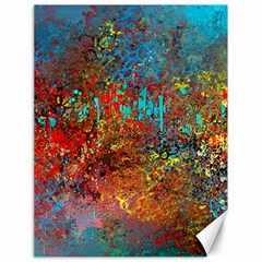 Abstract in Red, Turquoise, and Yellow Canvas 18  x 24