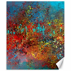 Abstract in Red, Turquoise, and Yellow Canvas 20  x 24