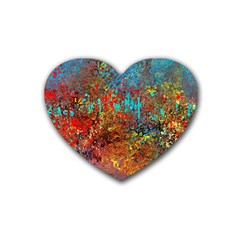 Abstract In Red, Turquoise, And Yellow Heart Coaster (4 Pack)