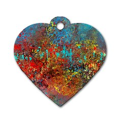 Abstract In Red, Turquoise, And Yellow Dog Tag Heart (two Sides)