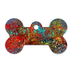 Abstract in Red, Turquoise, and Yellow Dog Tag Bone (One Side)