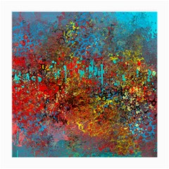 Abstract in Red, Turquoise, and Yellow Medium Glasses Cloth