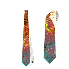Abstract In Red, Turquoise, And Yellow Neckties (one Side)