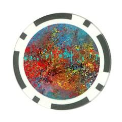 Abstract In Red, Turquoise, And Yellow Poker Chip Card Guards