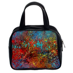 Abstract In Red, Turquoise, And Yellow Classic Handbags (2 Sides)