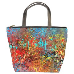 Abstract In Red, Turquoise, And Yellow Bucket Bags