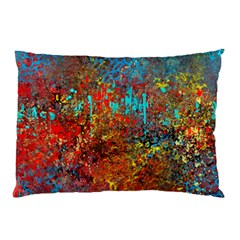 Abstract in Red, Turquoise, and Yellow Pillow Cases