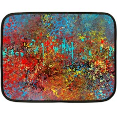 Abstract In Red, Turquoise, And Yellow Fleece Blanket (mini)
