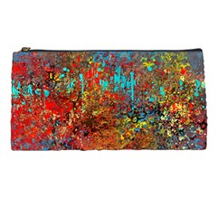 Abstract in Red, Turquoise, and Yellow Pencil Cases