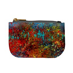 Abstract In Red, Turquoise, And Yellow Mini Coin Purses