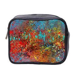 Abstract In Red, Turquoise, And Yellow Mini Toiletries Bag 2 Side
