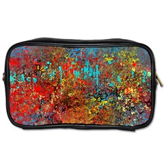 Abstract in Red, Turquoise, and Yellow Toiletries Bags