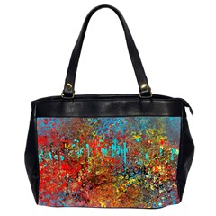 Abstract in Red, Turquoise, and Yellow Office Handbags (2 Sides)