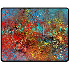 Abstract in Red, Turquoise, and Yellow Fleece Blanket (Medium)