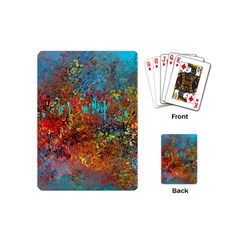 Abstract In Red, Turquoise, And Yellow Playing Cards (mini)