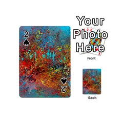 Abstract In Red, Turquoise, And Yellow Playing Cards 54 (mini)