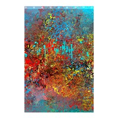 Abstract in Red, Turquoise, and Yellow Shower Curtain 48  x 72  (Small)