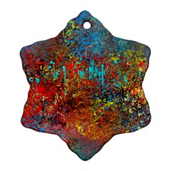 Abstract in Red, Turquoise, and Yellow Snowflake Ornament (2-Side)