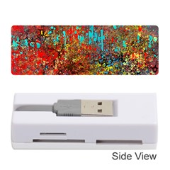 Abstract in Red, Turquoise, and Yellow Memory Card Reader (Stick)