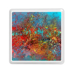Abstract In Red, Turquoise, And Yellow Memory Card Reader (square)