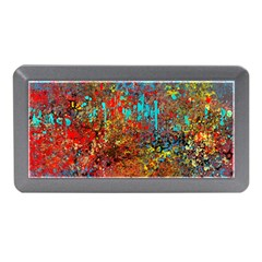 Abstract in Red, Turquoise, and Yellow Memory Card Reader (Mini)
